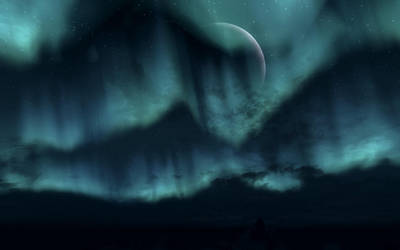 TESV Landscape - Moon and Aurora by LucidFusion