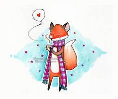 Cozy fox by Hikasawr