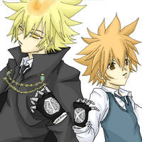 Giotto and Tsuna from KHR by Aresky