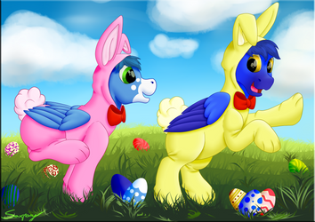 Easter Bunnies [art trade] by Saxpony