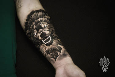 Angry dog tattoo by EGOR-DOG