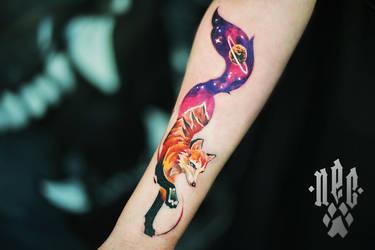 fox space tattoo by EGOR-DOG