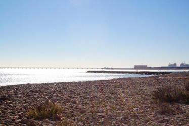 Winter beach by decalcomanie