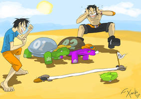 Luffy verses Ace by olafpriol