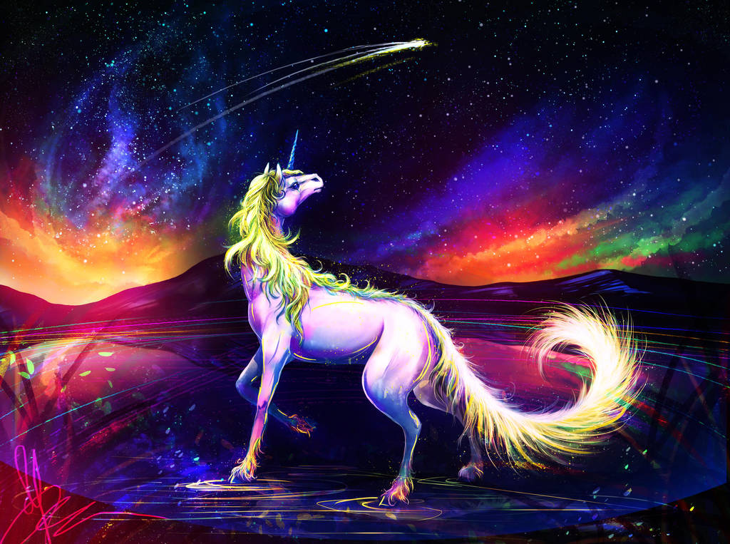 Unicorn and starry sky by LuckyTraveller