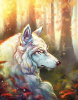 White wolf by LuckyTraveller