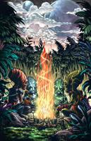 Commission  Art Alien Chief Gathering Colored by geniuspen