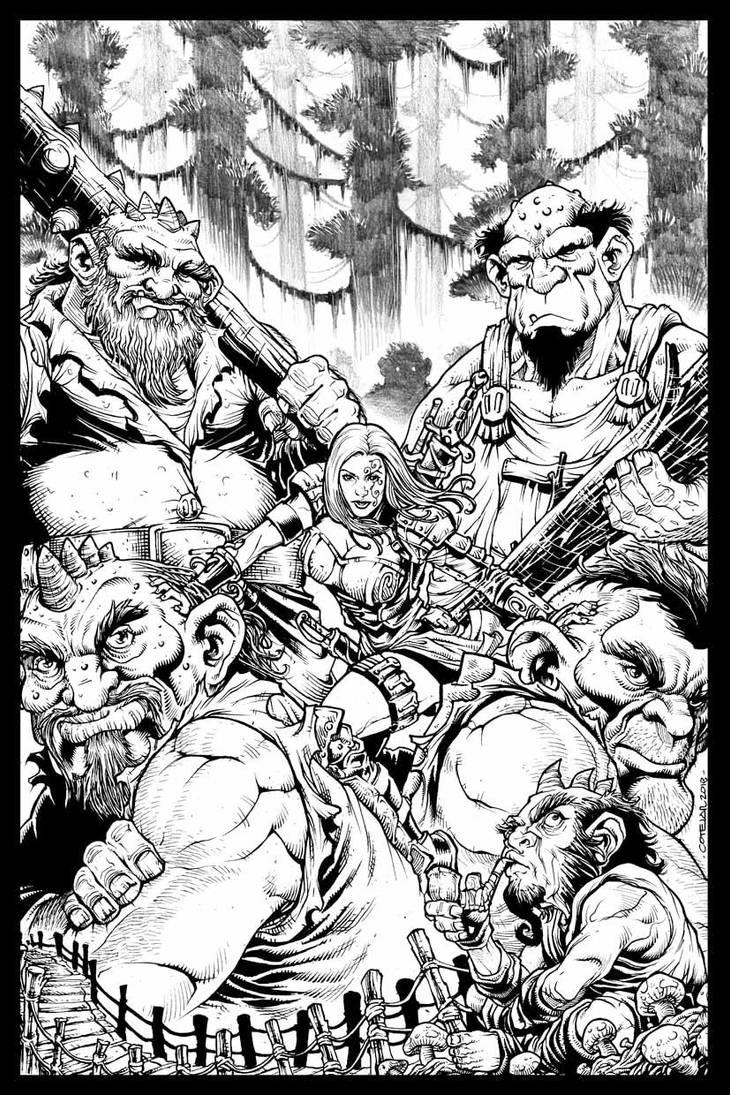 Fantasy Cover Art_Sorceress and Trolls... by geniuspen
