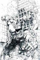 rhino vs. spiderman by geniuspen