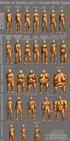 Bodies of Variety pt 1: Female body types by Spelledeg