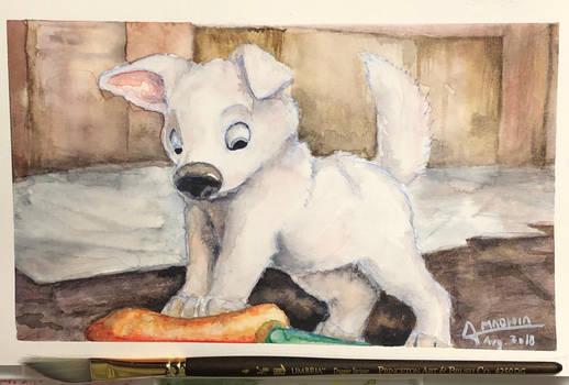 Puppy Bolt [watercolor study] by Amadhia