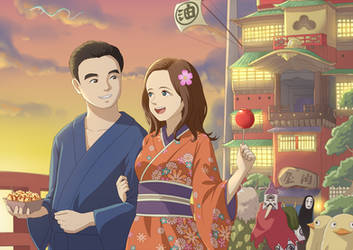 Couple and Bathhouse (Spirited Away) by NickBeja