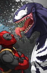 Deadpool vs Venom by xashe