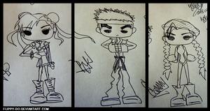 [2014] Street Fighter [Chun Li, Ryu, Cammy] [ink] by flippy-do