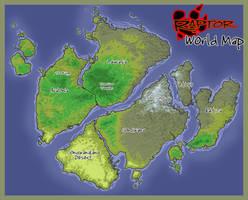 Raptor World Map Illustration by dawnbest