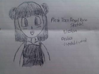 DBZ: Mirai Teen Angel Rose Pen Sketch by Knuxamyloverfan