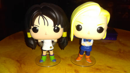 Videl and Android 18 Funko Pop Figures by Knuxamyloverfan