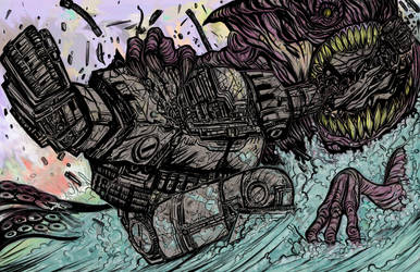 seamonster vs giant mech by 1ithium