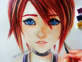 Kairi - Kingdom Hearts - Watercolor Painting by frankekka