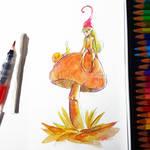 Autumnal Fairy - Watercolor Pencils Tutorial by frankekka