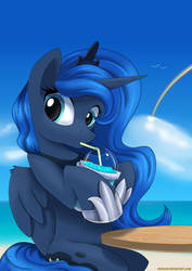 Luna and her slushie by Neoncel