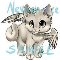 winged cat lineart by nevaeh-lee