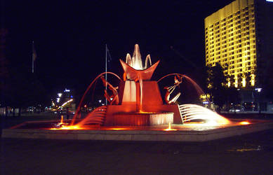 Fountain at Night by LionHeartAU