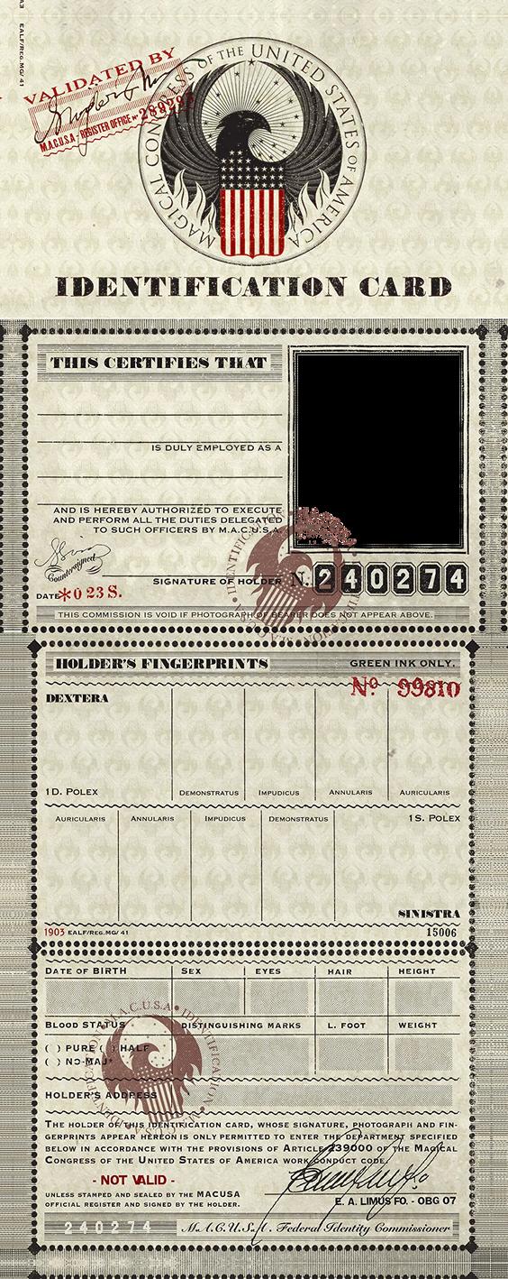 M.A.C.U.S.A. Identification Card Template PNG