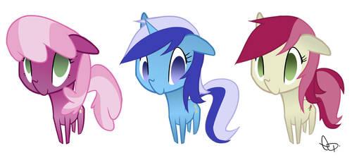 Chibi Ponies by yiKOmega
