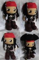Commission, Mini Plushie Captain Jack Sparrow by ThePlushieLady