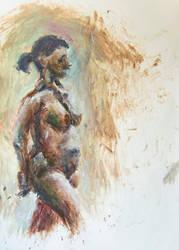Nude Girl Handpainted by mazurada
