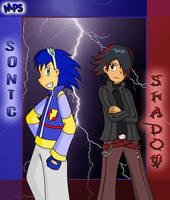Human Sonic and Shadow by MayuPokeSama