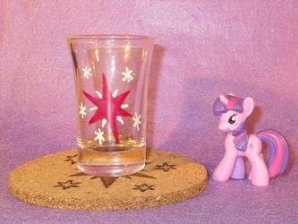 Twilight Cutie Mark shot glass and cork coaster by Malte279