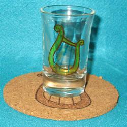 Lyra Cutie Mark shot glass and cork coaster by Malte279