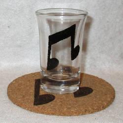 Vinyl Scratch Cutie Mark shot glass and cork coast by Malte279