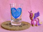 Cadance Cutie Mark shot glass and cork coaster by Malte279