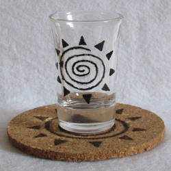 Zecora Glyph Mark shot glass and cork coaster by Malte279