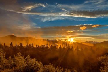 Misty Gold Mountain Sunset by somadjinn