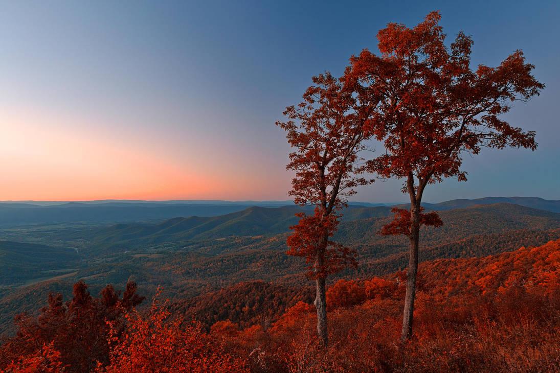 Shenandoah Twilight Overlook - Ruby Autumn by somadjinn
