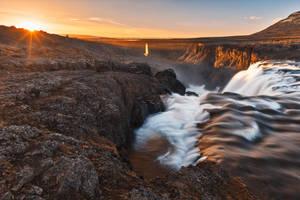 Kolufoss Sunset Waterfall by somadjinn
