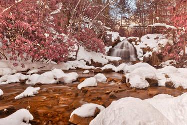 Hawk Falls Winter Stream - Pink Fantasy by somadjinn