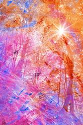 Acrylic Sunburst Forest - Dunkeld by somadjinn