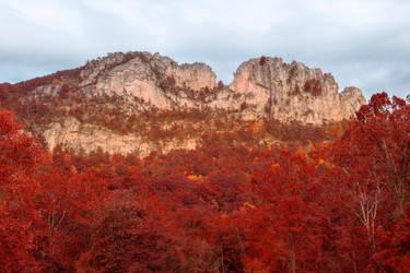 Seneca Rocks - Autumn Red Fantasy by somadjinn