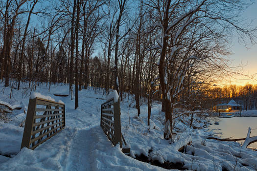 Winter Twilight Trail Bridge - Lake Needwood by somadjinn