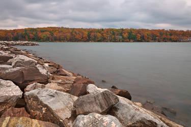 Cloudy Deep Creek Autumn by somadjinn