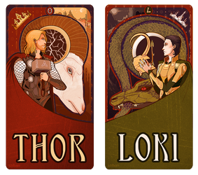 Mucha Thor and Loki by soltian
