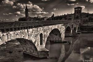 Old Bridge In Verona Over Adige River II by BillyNikoll