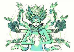 Inktober day 19 - Coral Goddess by MondoArt