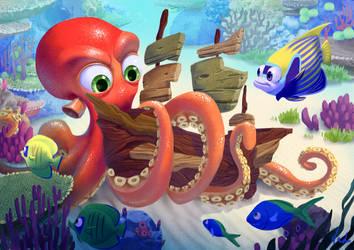 Little Kraken by kinkajoomotion