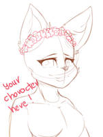 Flower crown female anthro ych auction (closed) by Izudraws